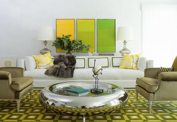 желто-зеленый интерьер