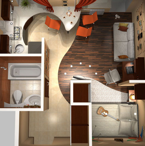 Дизайн в однокомнатной квартире в хрущевке