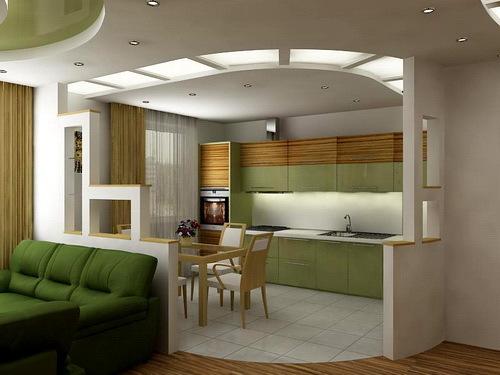 интерьер кухни гостиной