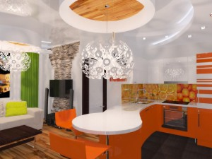 Современно, стильно и практично: гостиная, совмещенная с кухней